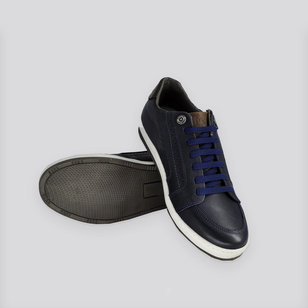 Sapatênis Mega Boots Elástico Azul Marinho/Café