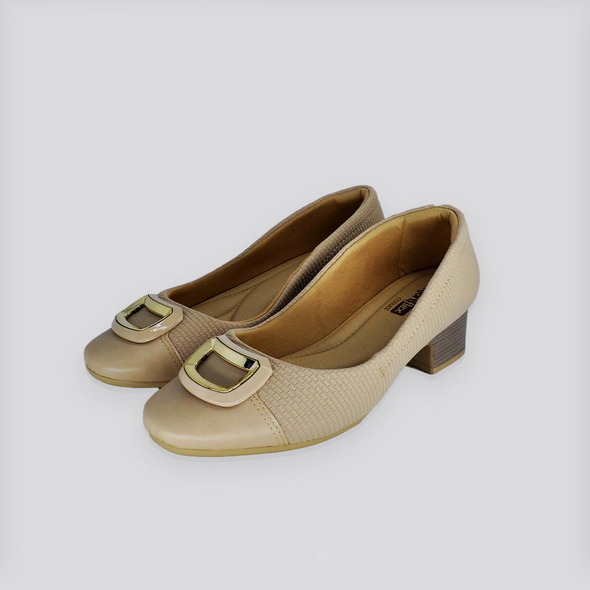 Sapato ComfortFlex Lycra Nude ( Bege )