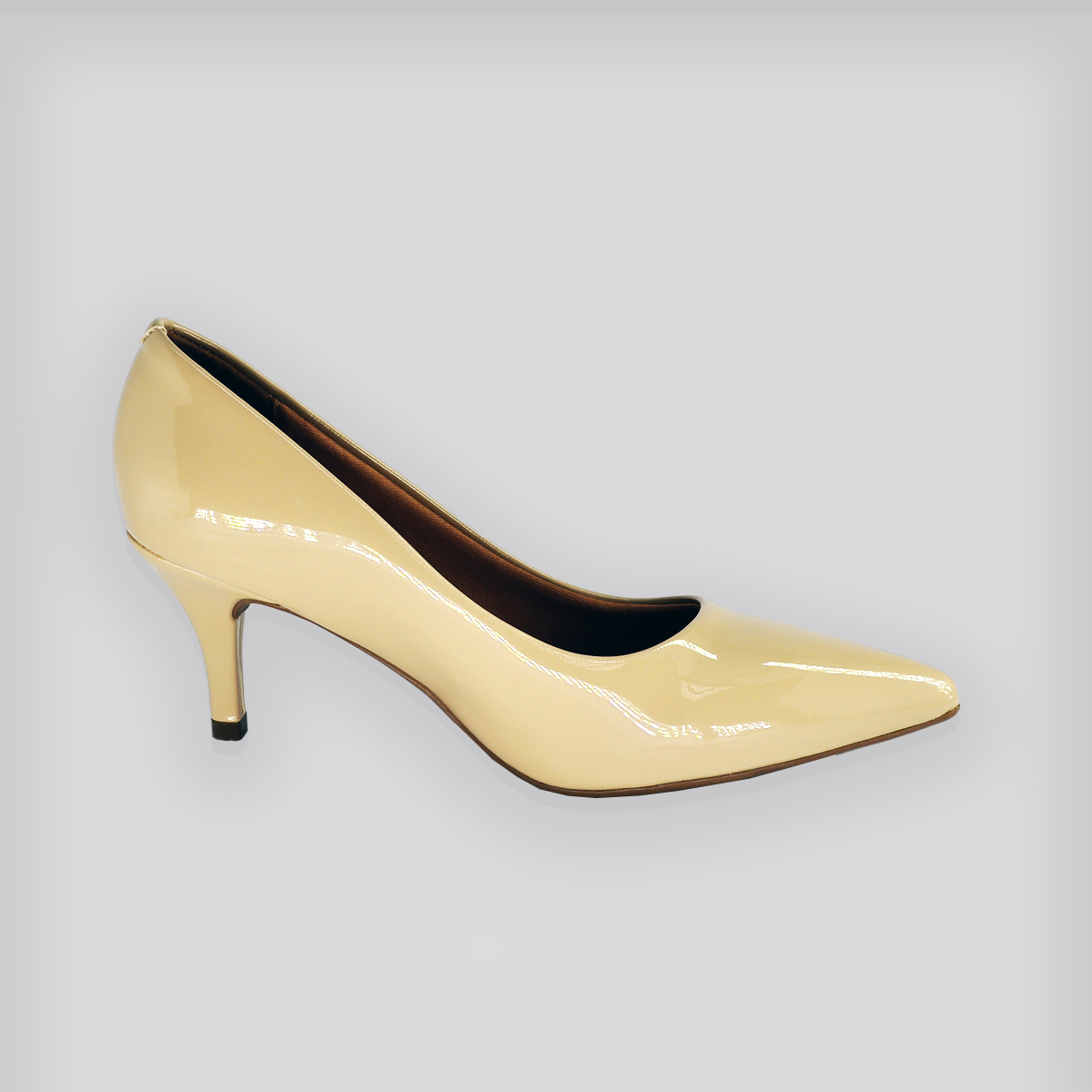 Sapato Scarpin Premium Bege Verniz