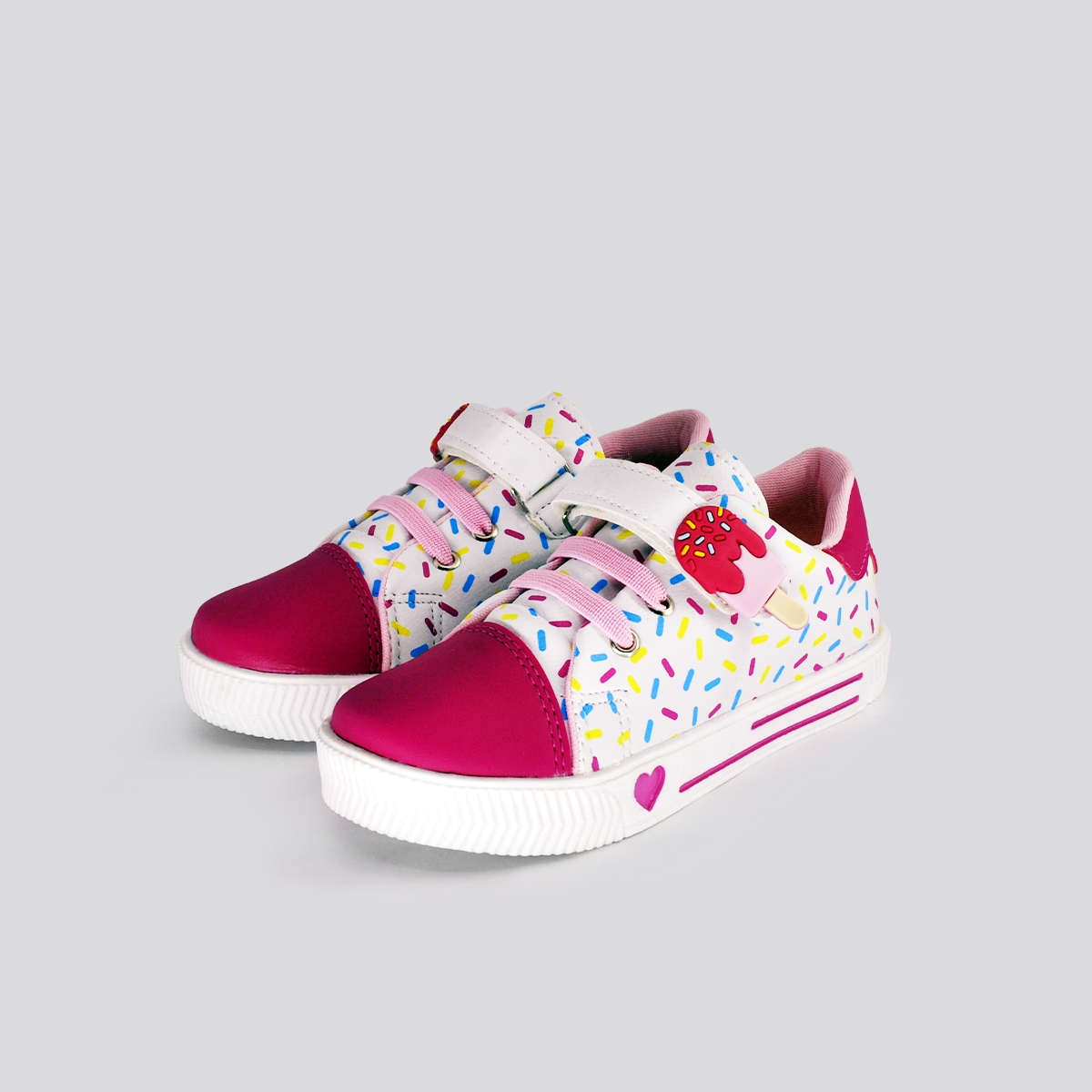 Tênis baby Menina Branco/Pink