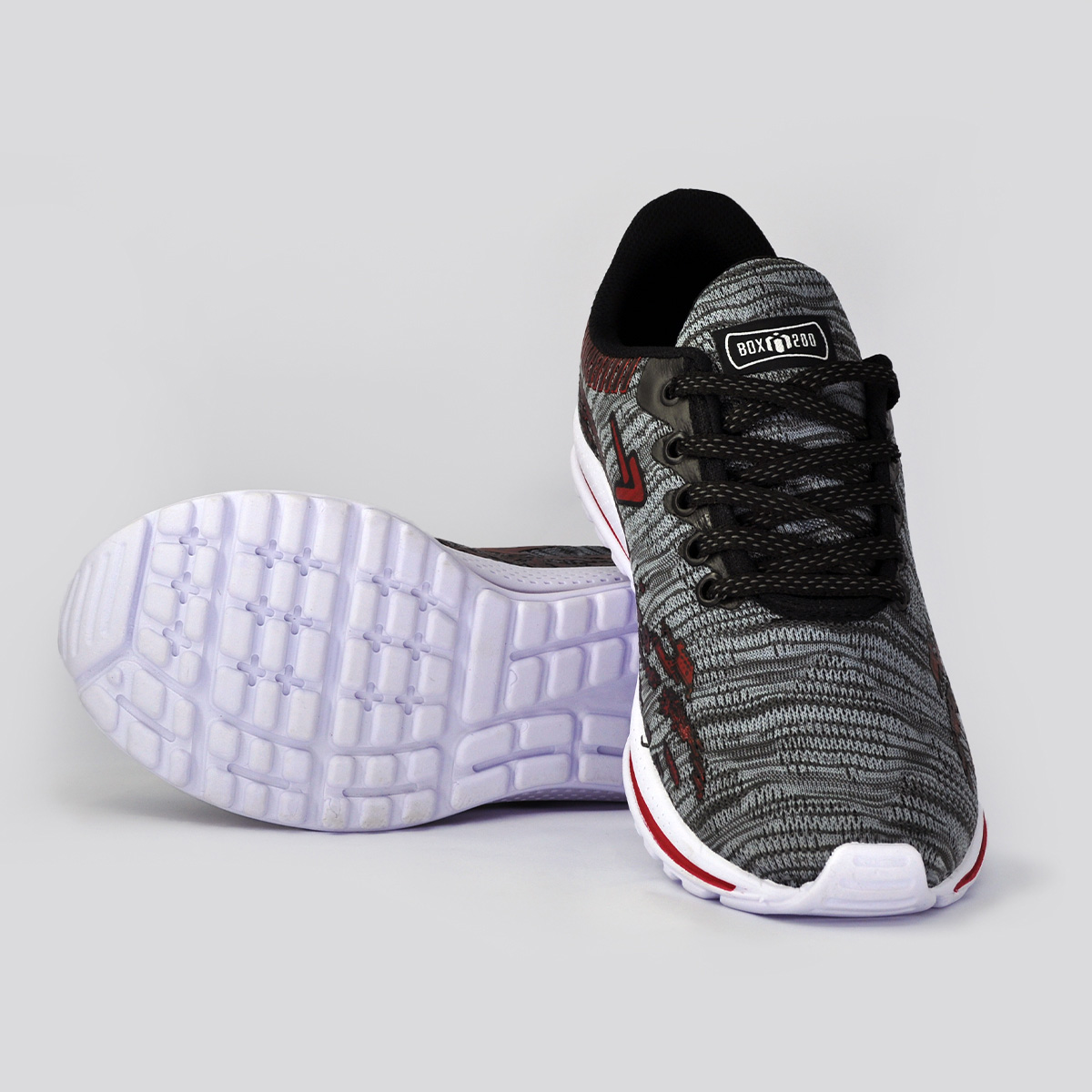 Tênis Jogging Unissex Box 200 Preto e Vermelho
