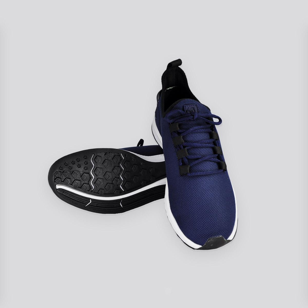 Tênis Masculino Kalpak Calce  Fácil Amarrar Azul Marinho/Branco
