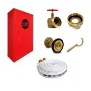 Kit Hidrante 90x60x17cm Completo Latão 1 Mangueira de 30m