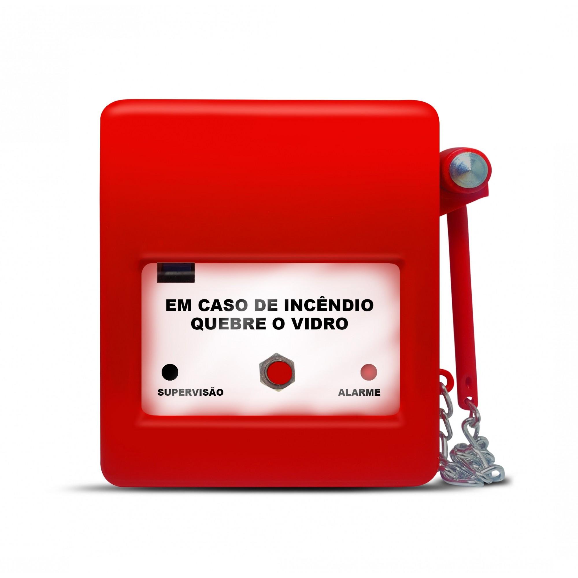 Acionador Alarme De Incêndio c/Martelo  quebra vidro HDX