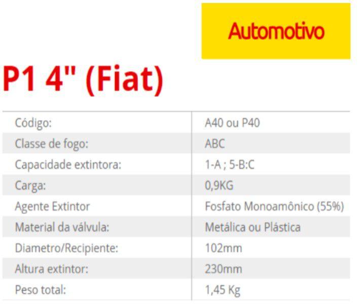 Extintor ABC Automotivo 01kg FIAT C/Suporte - Validade 5 Anos