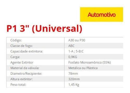 Extintor ABC Automotivo 1Kg Universal/Fino Validade de 5 anos