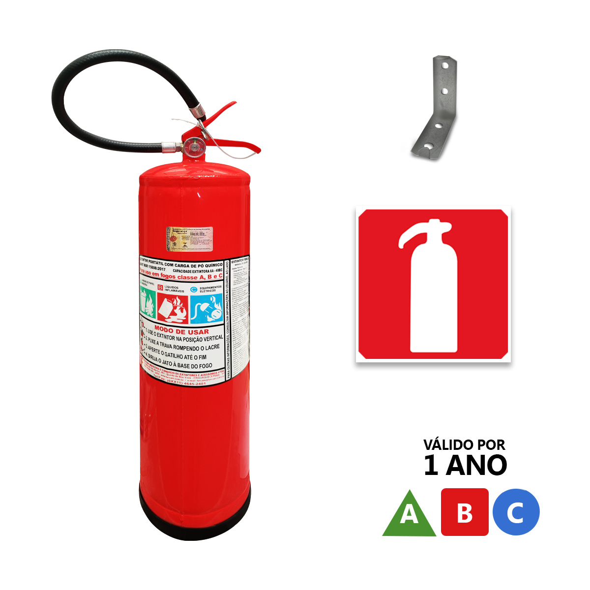 Extintor Pó ABC - 12Kg - Validade 1 Ano