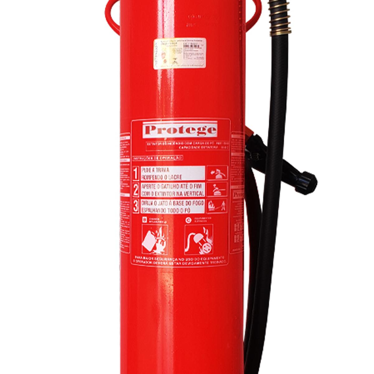 Extintor Pó Químico 80-BC de 20Kg tipo Carreta Sobre Rodas