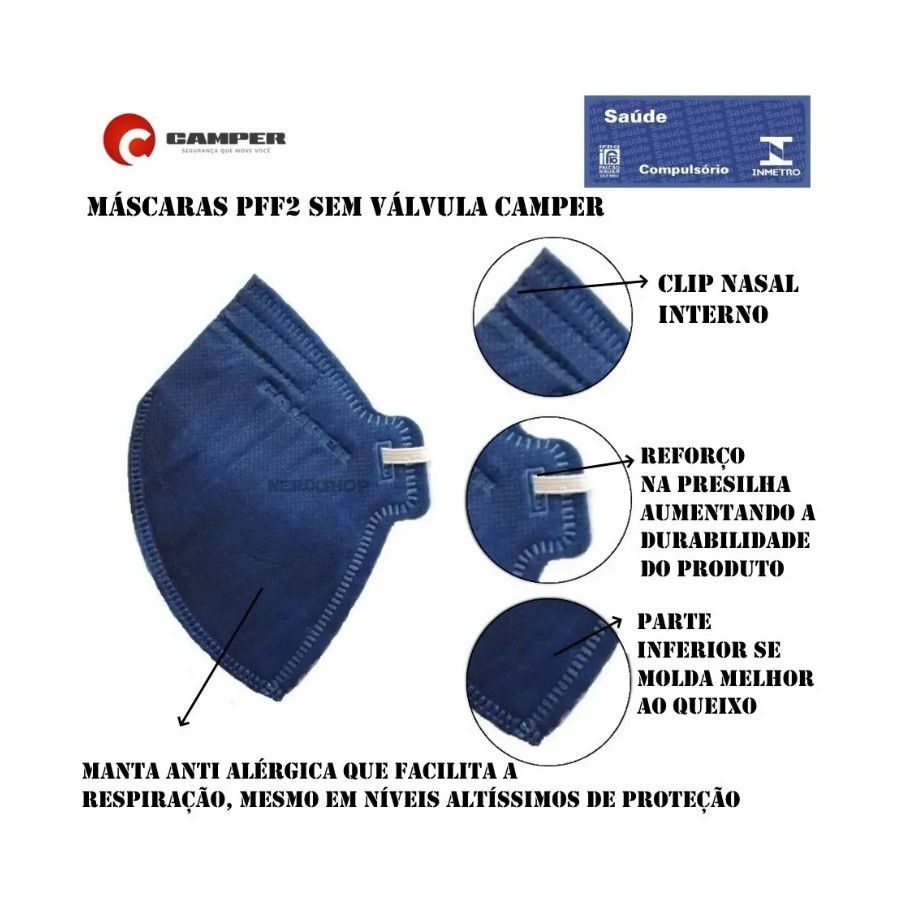 Kit 20 Máscaras Descartável PFF2 - N95 INMETRO