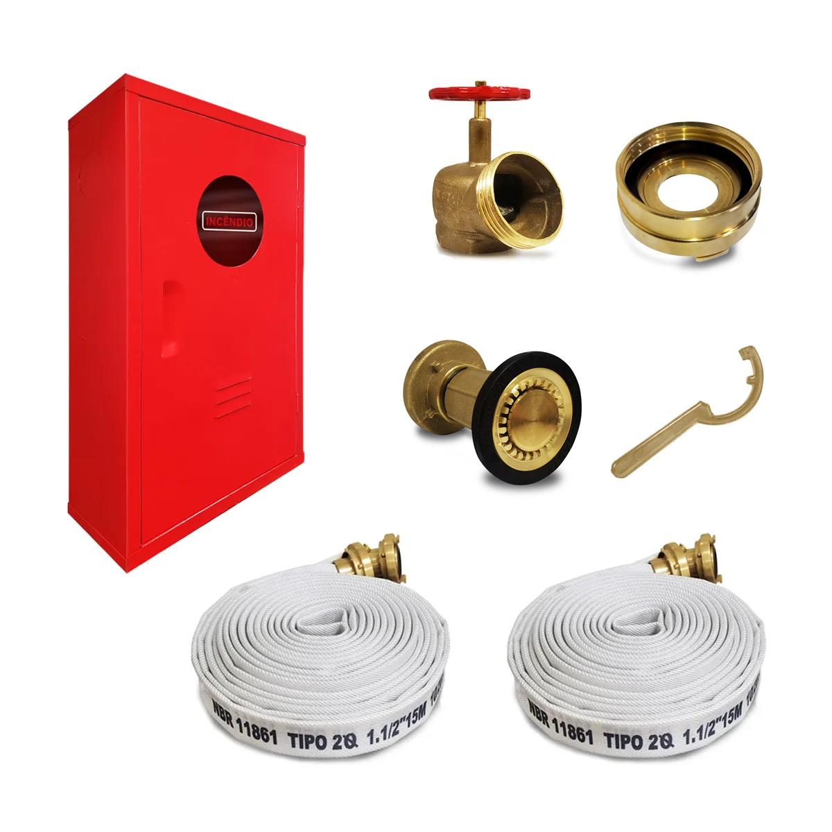 Kit Hidrante Completo 90x60x17cm Latão 2 Mangueira de 15m