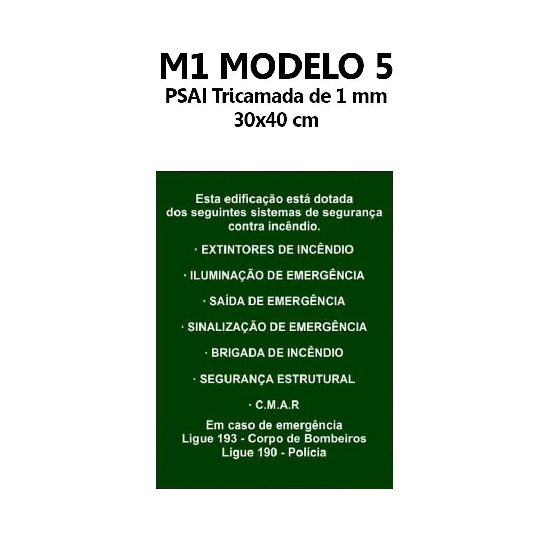 Placa M1 Bombeiro Equipamentos Na Edificação 30x40cm