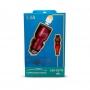 Carregador rápido veicular 3.4a USB Type C Inova CAR-G5116 Vermelho
