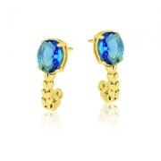 Brincos com Pedra Azul - Folheados a Ouro