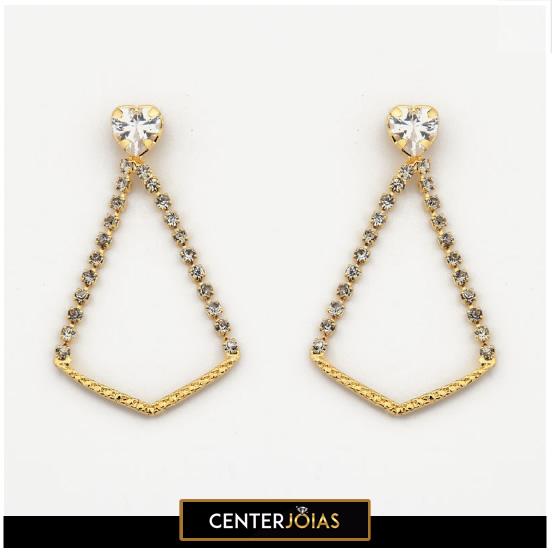 Brincos Coração de Cristal Elegante Cravejado - Folheados a Ouro