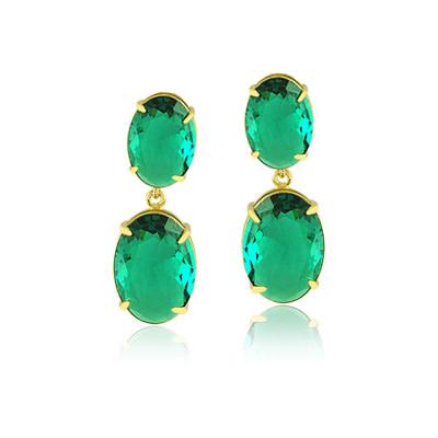 Brincos de Pedras Verdes - Folheados a Ouro