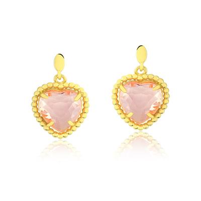 Brincos Pedra Coração Rosa - Folheados a Ouro