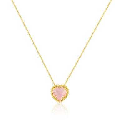 Gargantilha Coração Cristal Rosa - Folheados a Ouro