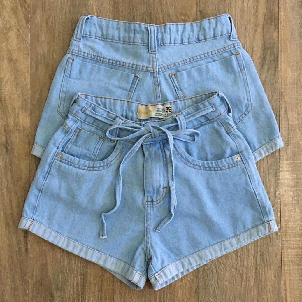Short Jeans Feminino com bolsos e barra dobrada kangaia