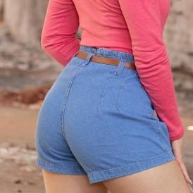 short jeans feminino com cinto kangaia