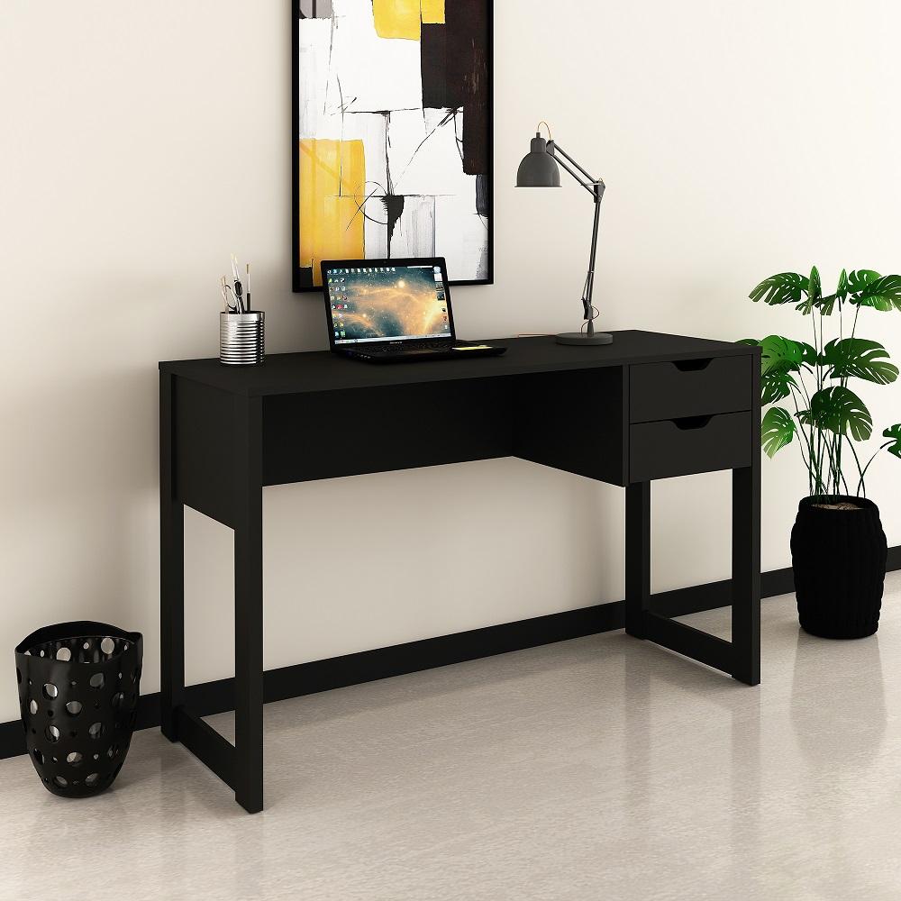 Mesa para Computador Escrivaninha com 2 Gavetas AZ2007 Preto Ammo Mobili