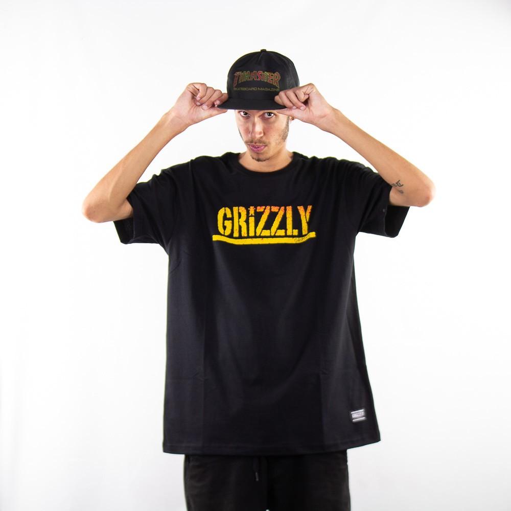 Camiseta Grizzly Stamp Fadeway Tee Preto