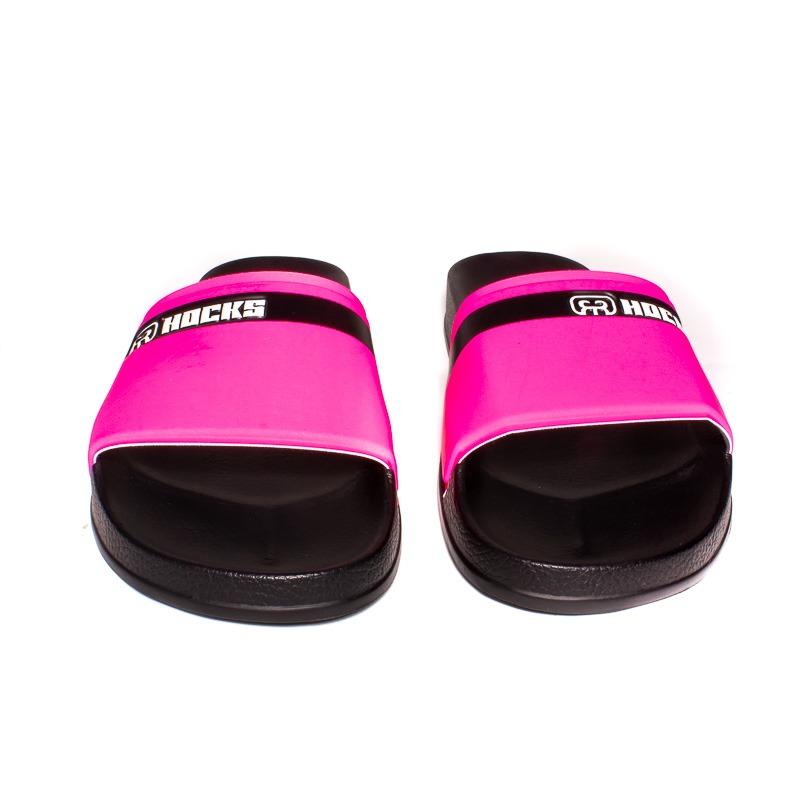 Chinelo Slide Hocks Black/Rosa Fluorescente