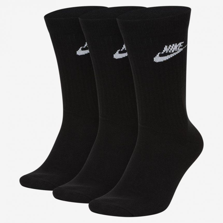Meia Nike Crew Essential Preto 3 pares