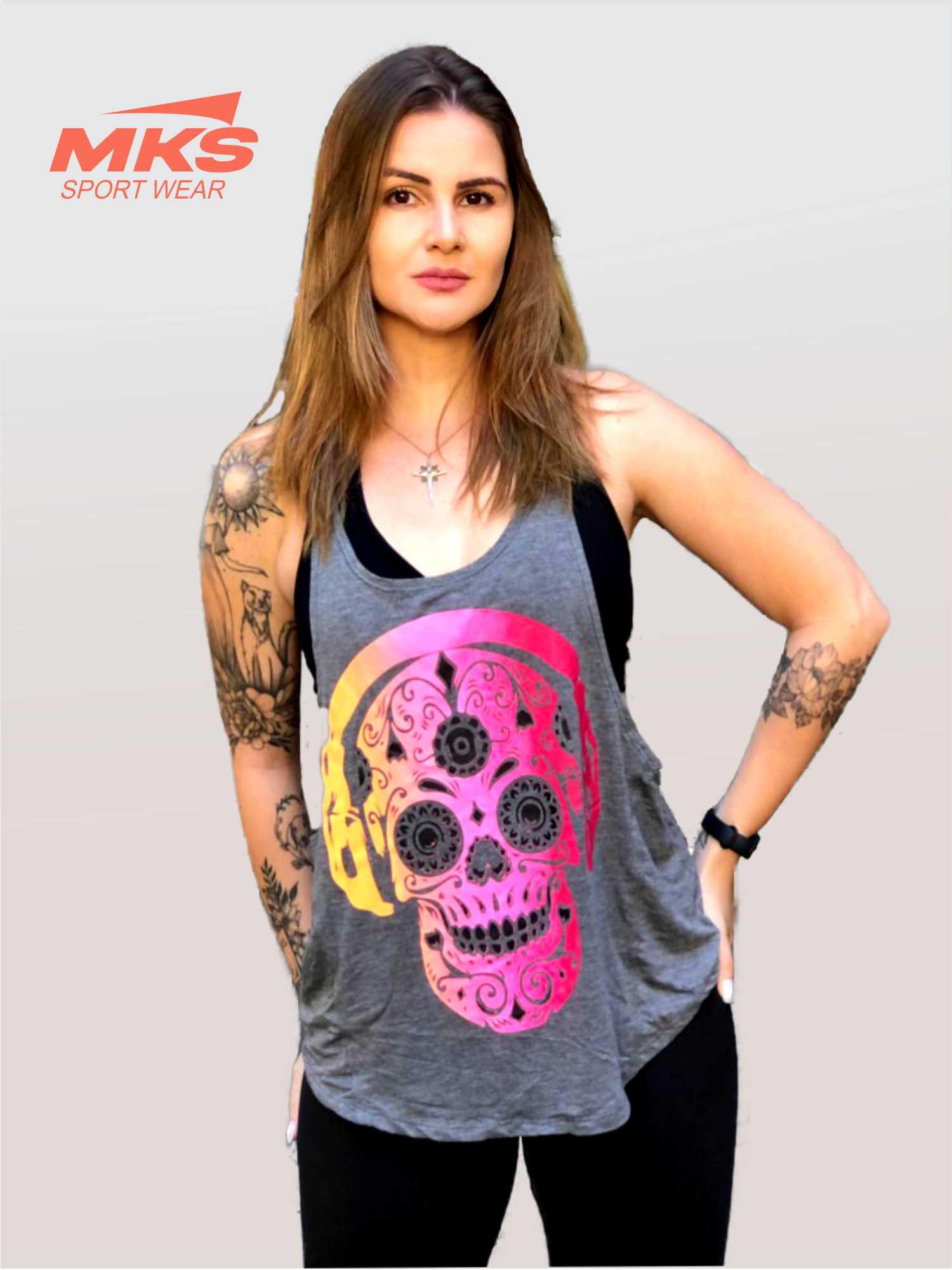 Blusa Academia Camiseta Cavada Fitness - Caveira