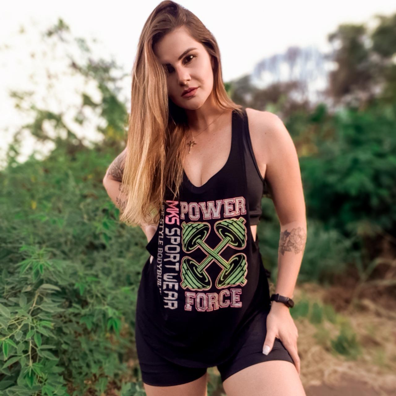 Blusa Academia Camiseta Cavada Fitness - Power