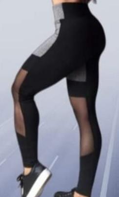 Calça Legging Com Tule Fitness Academia Suplex Cintura alta