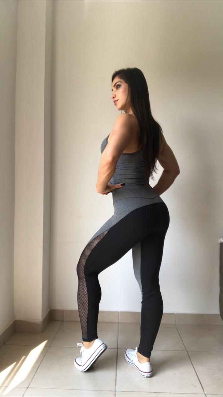 Calça Legging Fitness - Detalhes Arrastão