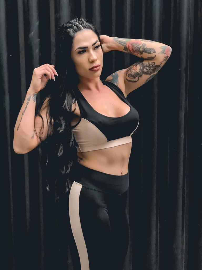 Conjunto de academia feminino fitness Calça legging +Top Bojo Removível