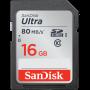 CARTÃO SD ULTRA 16GB 80MB/S SANDISK CLASSE 10 - ADSL CAMERAS - Equipamentos Fotográficos