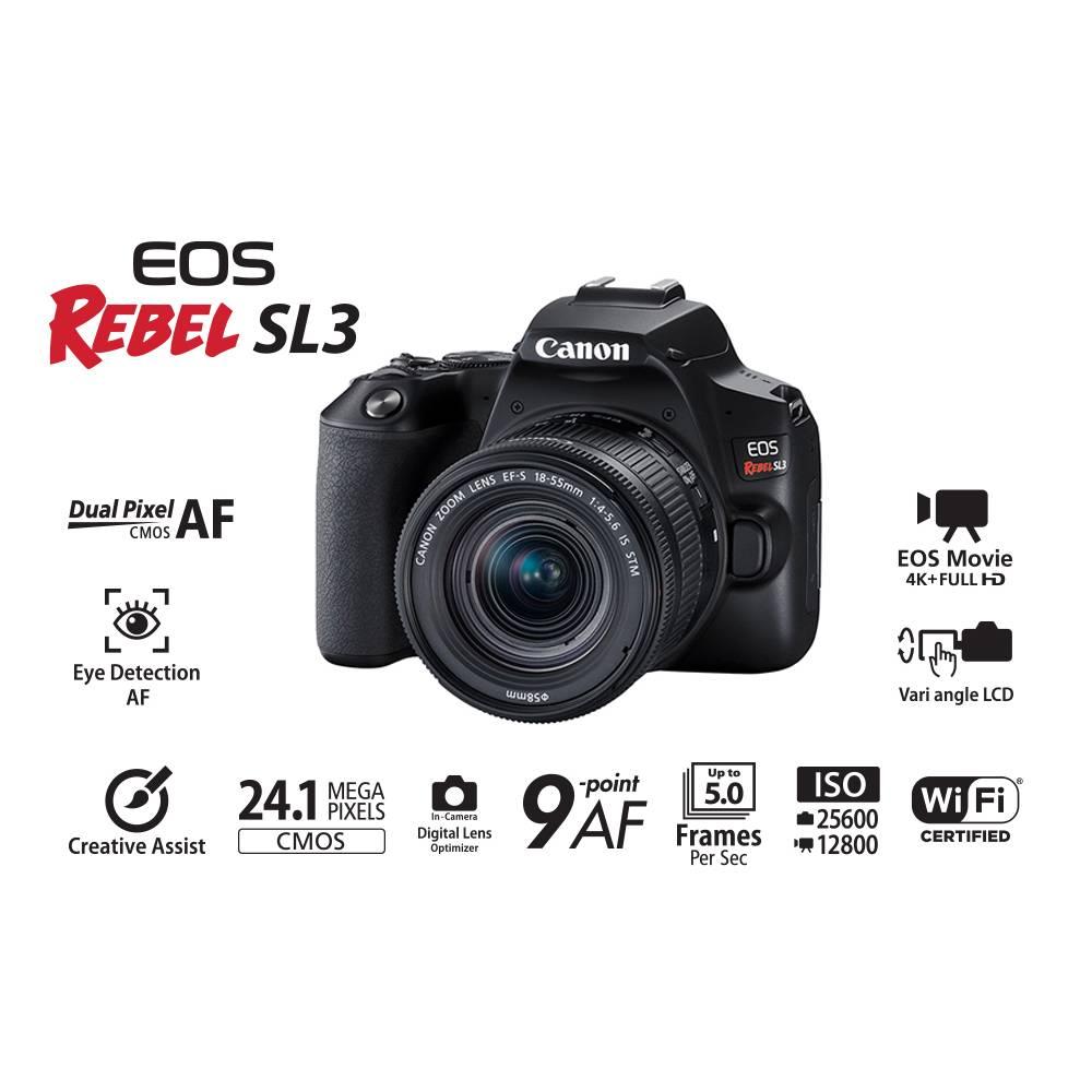 CANON EOS REBEL SL3 PREMIUM KIT EF-S 18-55MM + EF-S 55-250MM