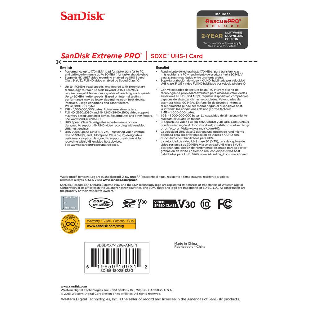 CARTÃO DE MEMÓRIA SANDISK 128GB EXTREME PRO SDHC - 170MB/S