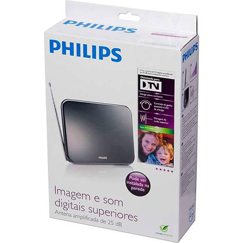 Antena Digital Interna Amplificada 25DBI Philips HDTV/UHF/VHF/FM SDV7225T  - Sarcompy