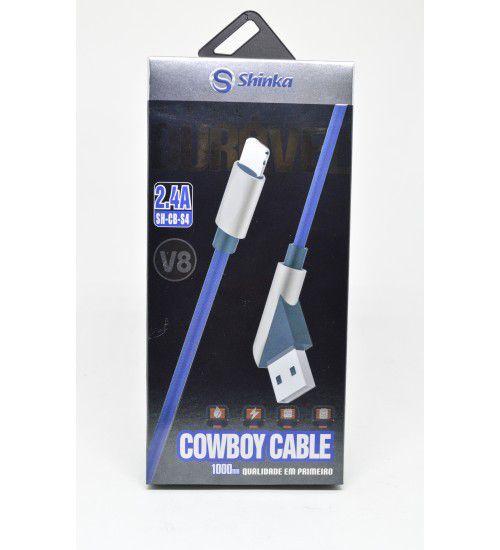 Cabo USB de Tecido V8 45 Graus 1M Cowboy  - Sarcompy