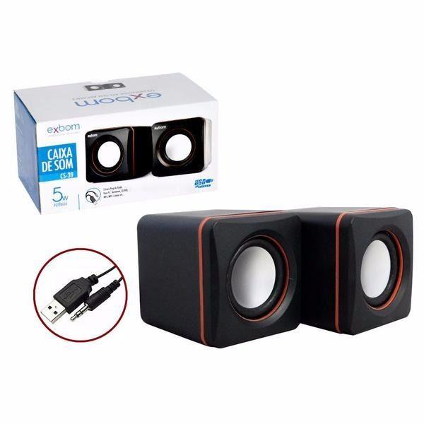Caixa de Som 2.0 para PC & Smartphone Preto - CS-39  - Sarcompy
