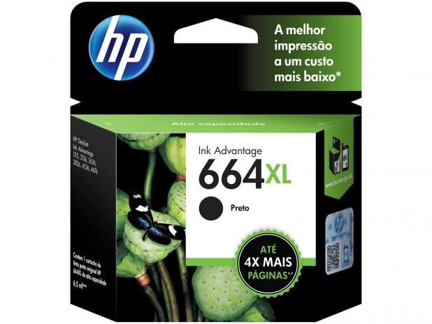 Cartucho HP 664XL Preto INK F6V31AB 8,5ML  - Sarcompy