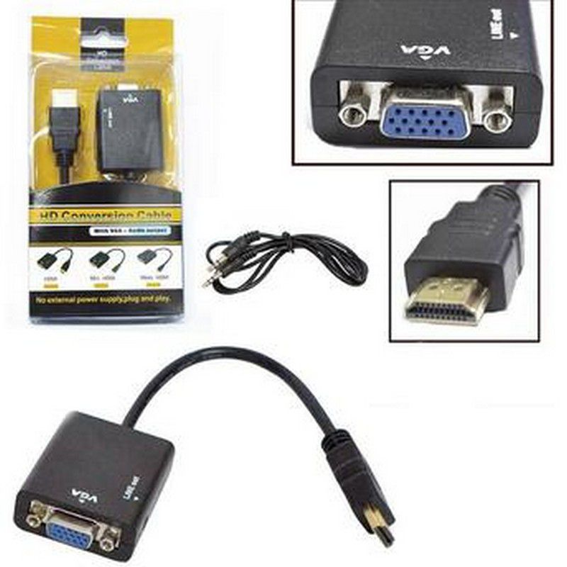 Conversor HDMI para VGA com Audio(imagem e SOM) - Rabicho  - Sarcompy