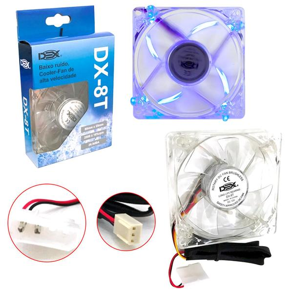 Cooler FAN com LED AZUL 80MM DX-8T  - Sarcompy