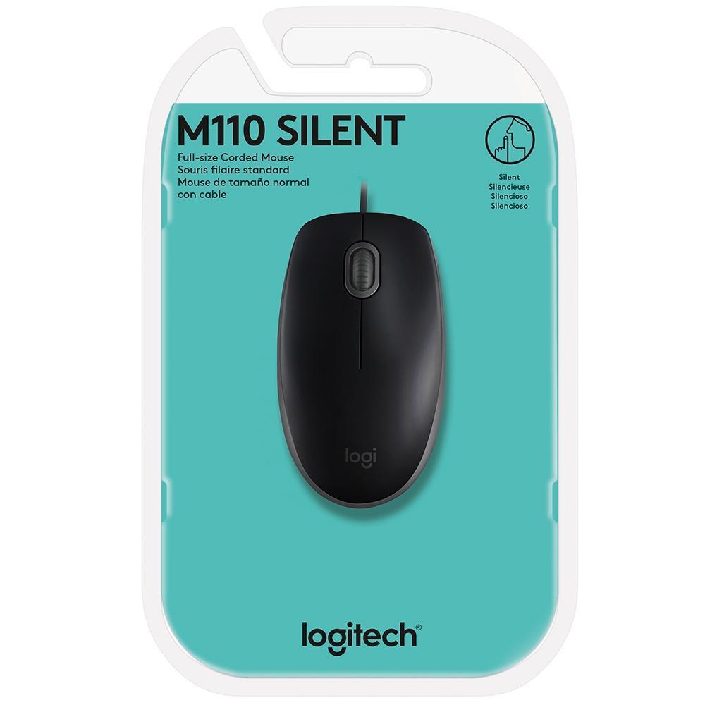 Mouse com Fio M110 Preto Logitech  - Sarcompy