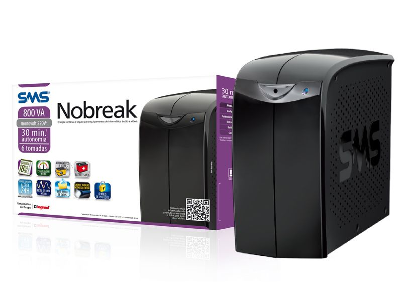 Nobreak   SMS  800VA  Mono Station  II  115V 6NT  - Sarcompy
