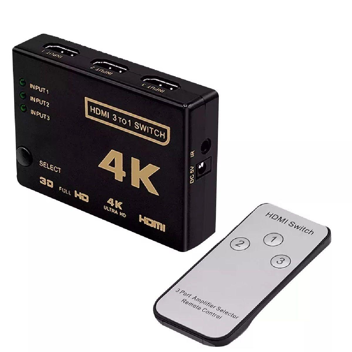 Switch 4K HDMI 3 Entradas 1 Saida C/CONTROLE Remoto  - Sarcompy