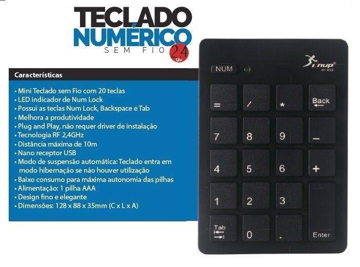 Teclado Numerico Wireless KNUP KP-2038  - Sarcompy