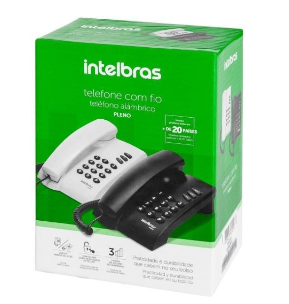 Telefone Intelbras Pleno Preto  - Sarcompy