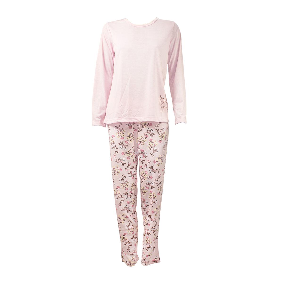 Pijama Calça Floral  Longo Fechado Feminino Mardelle