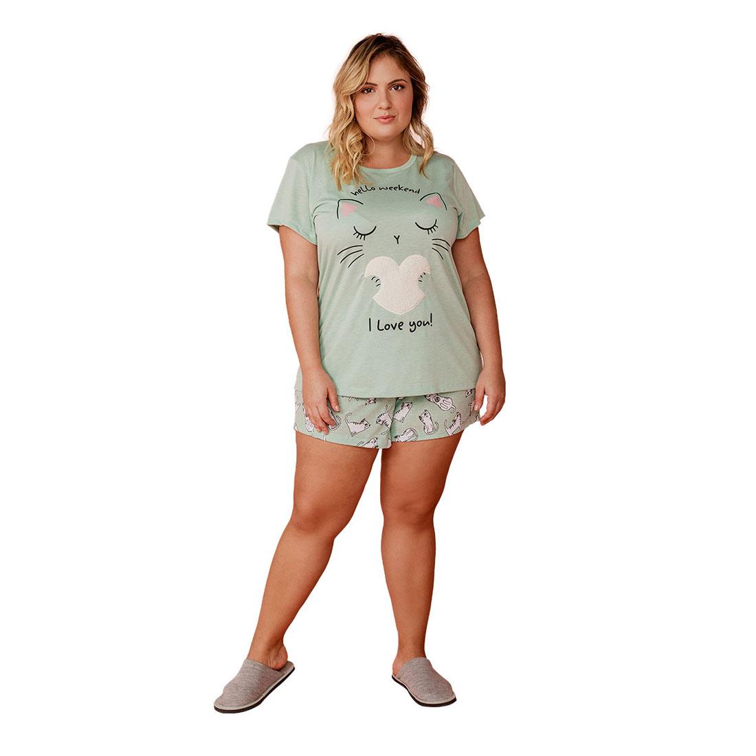 Pijama Feminino Short Doll Plus Size Mardelle