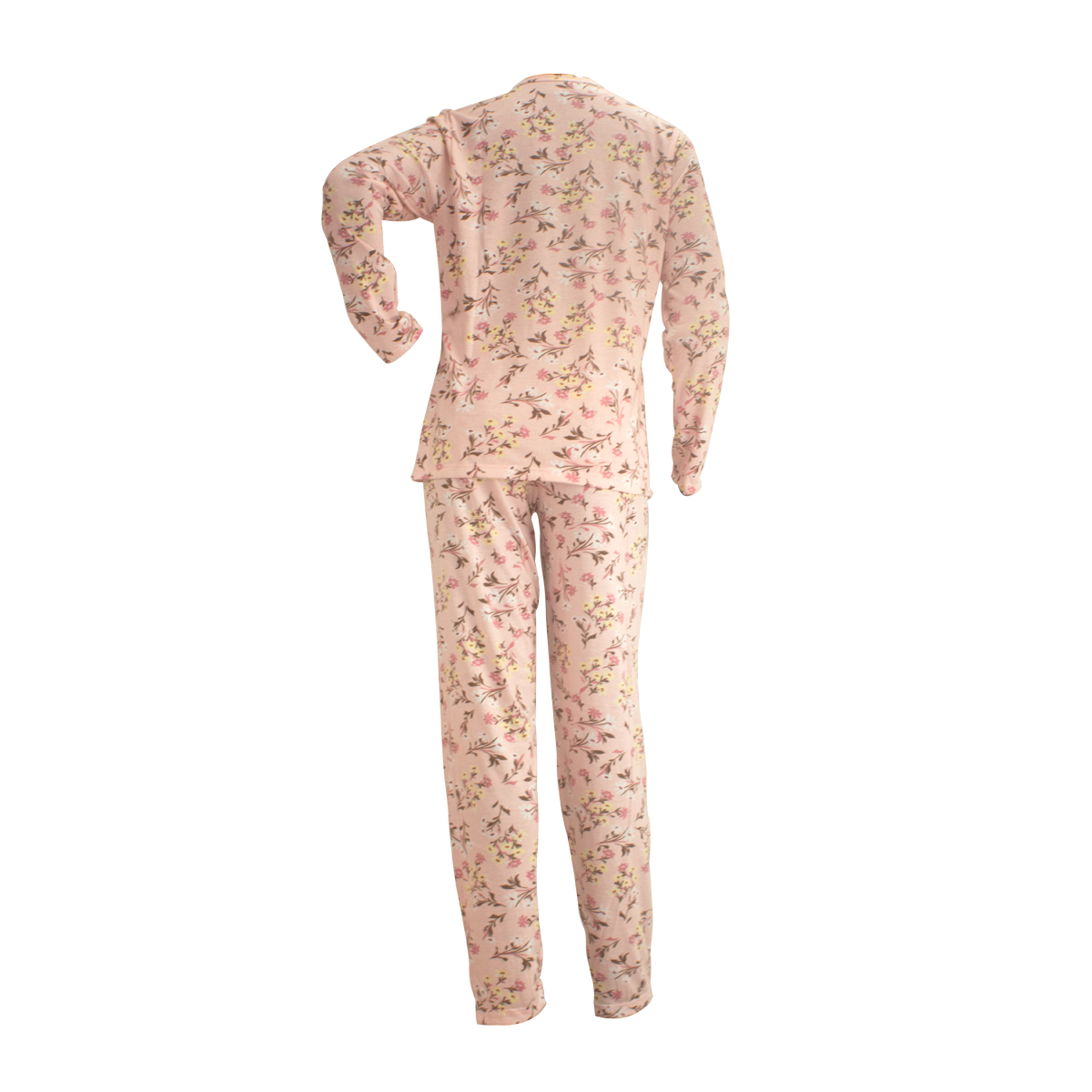 Pijama Floral  Longo Aberto Feminino Mardelle