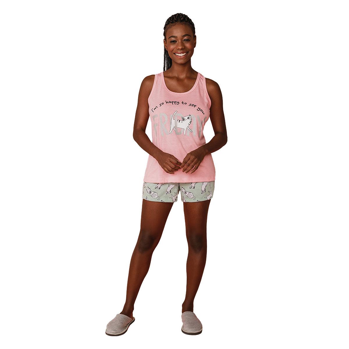 Pijama Short Doll Feminino Regata Mardelle